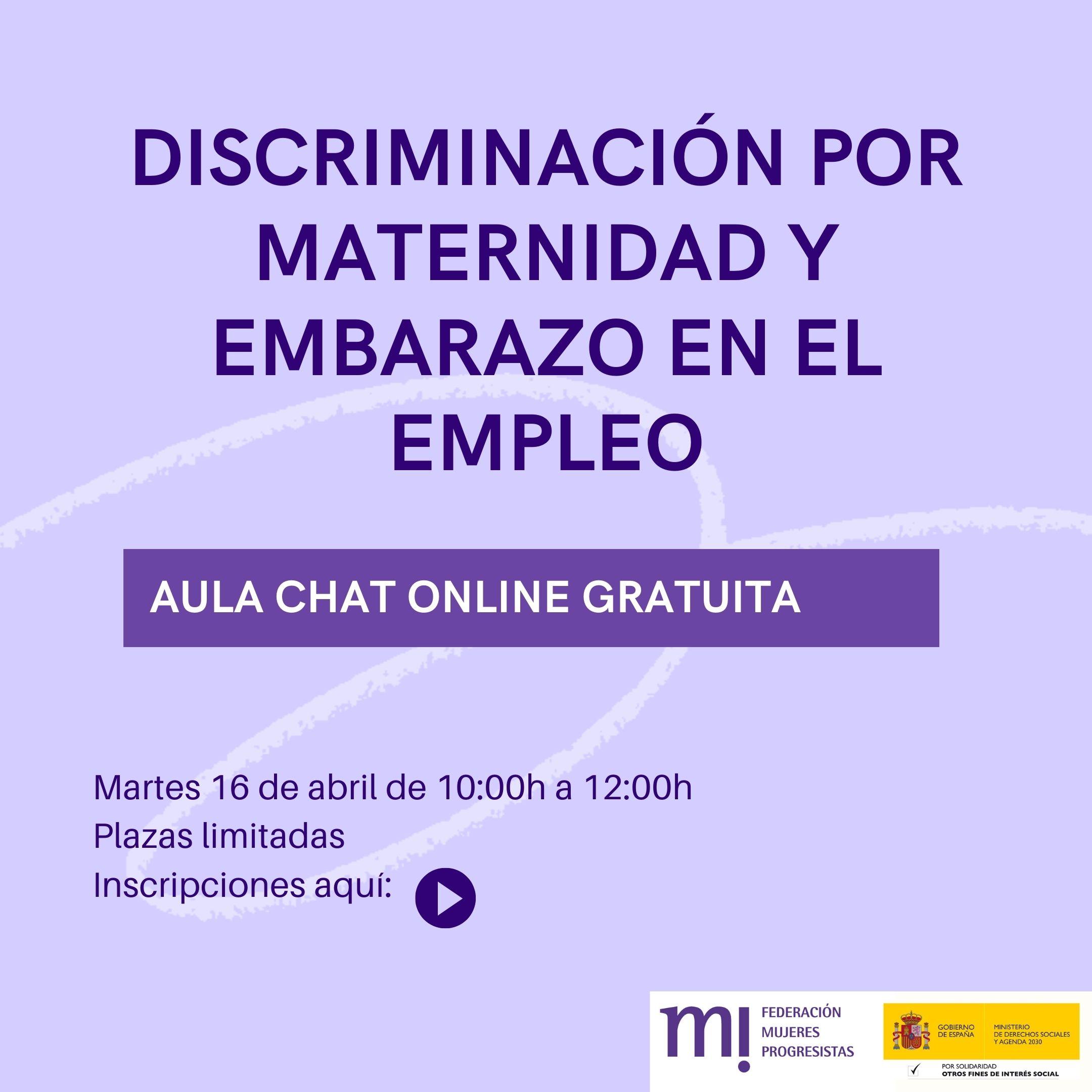 Course Image Aulachat Discriminación por maternidad y embarazo en el empleo  16 de Abril de 2021